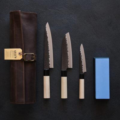 Tojiro DP Kurouchi Set – Includes Leather Bag and 600/2000 Whetstone