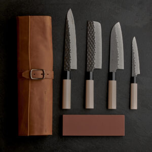 Tojiro DP Kurouchi Set – Includes Leather Bag and Naniwa Traditional Stone