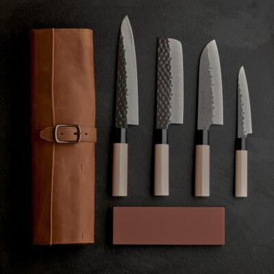 Tojiro DP Kurouchi Set – Includes Leather Bag and Naniwa Traditional Stone