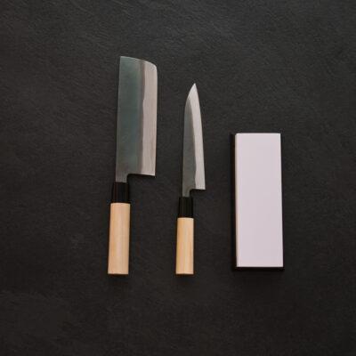 Tojiro Shirogami Set – Nakiri 165mm – Petty 150mm – Whetstone 1000/3000