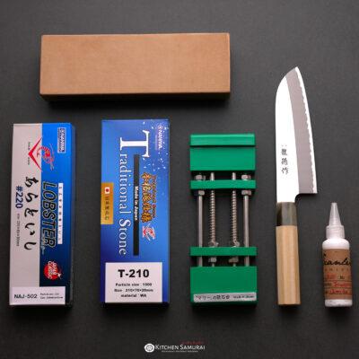 2x Sharpening Set with Stone Holder