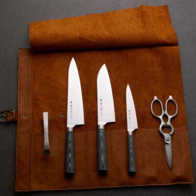Tojiro Oboro Set with Arrow Leather Knife Roll